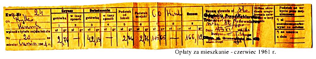 Pasek opłat za mieszkanie, czerwiec 1961